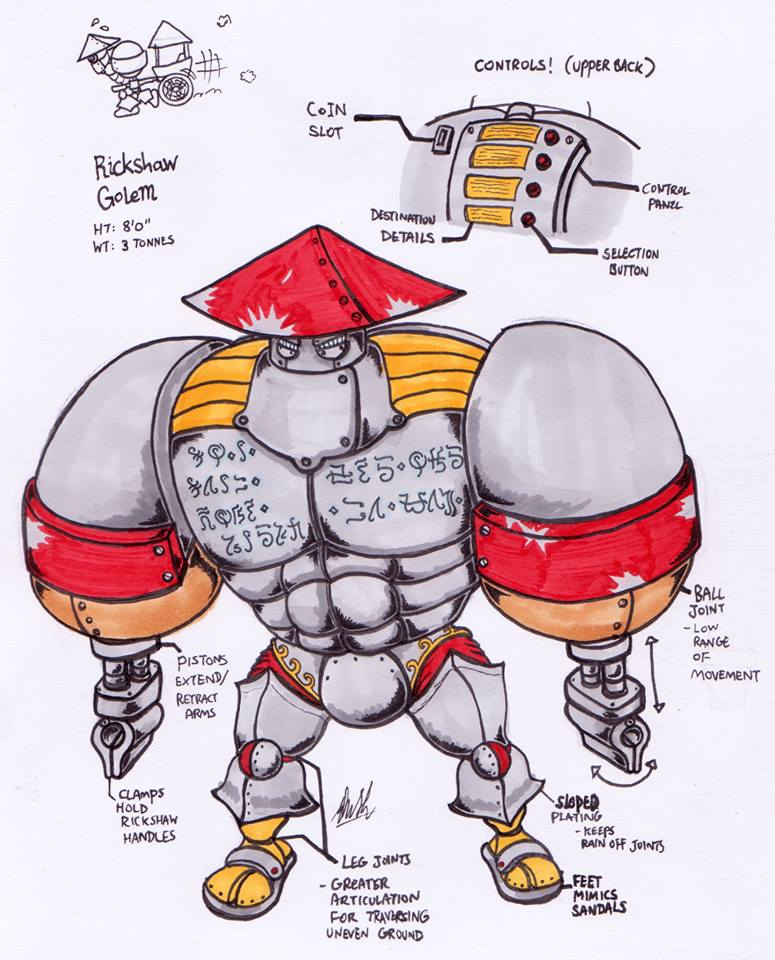 Rickshaw carrying Golem